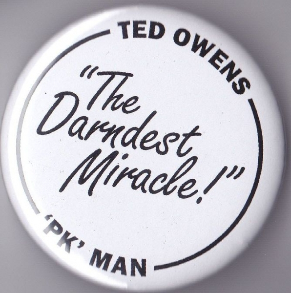 """Tew Owens / PK-Man"" button by Tup Wanders and Alicia Ziff."