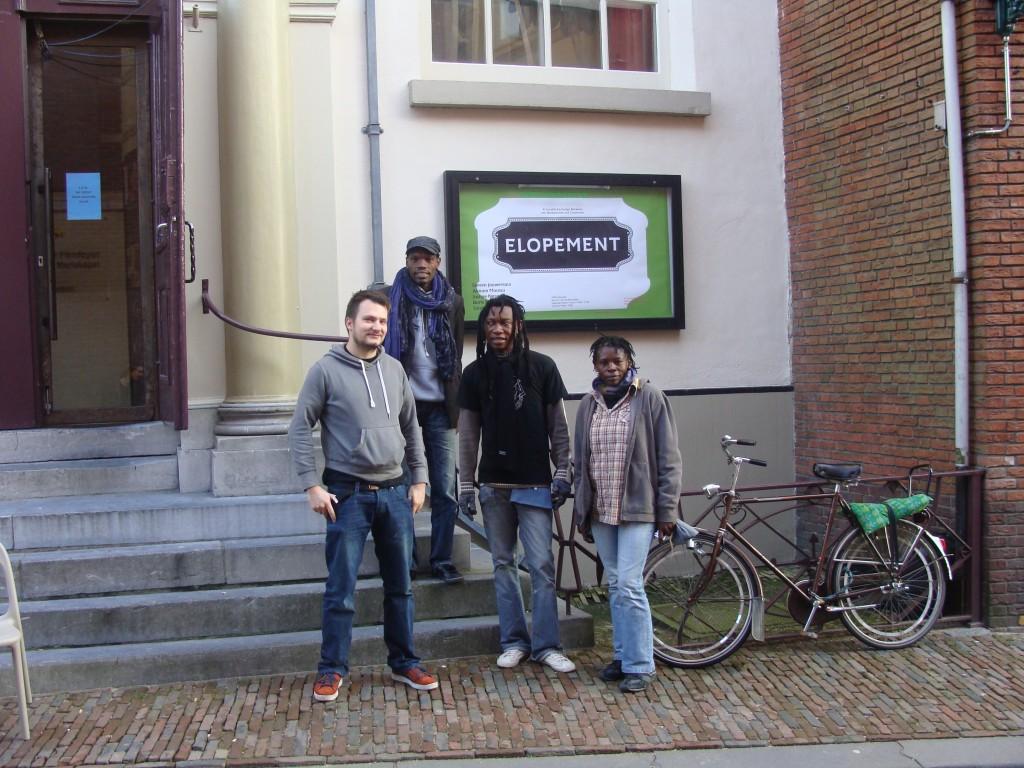 Boris Nzebo, Alioum Moussa, Justine Gaga and my collegue Dennis outside the HMK chapel.